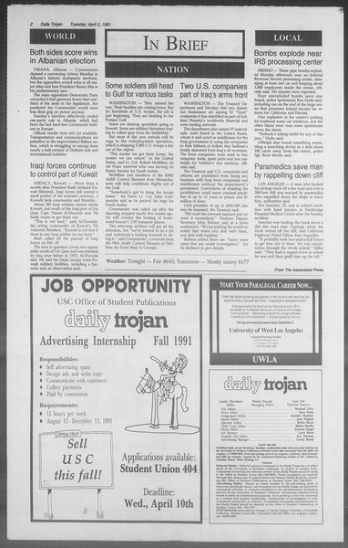 Daily Trojan, Vol. 114, No. 50, April 02, 1991