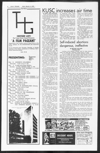 Daily Trojan, Vol. 61, No. 89, March 11, 1970