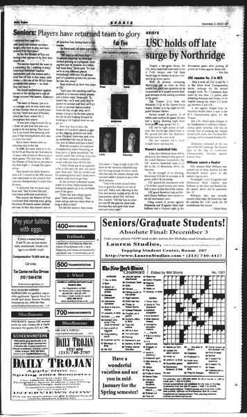 Daily Trojan, Vol. 150, No. 65, December 02, 2003