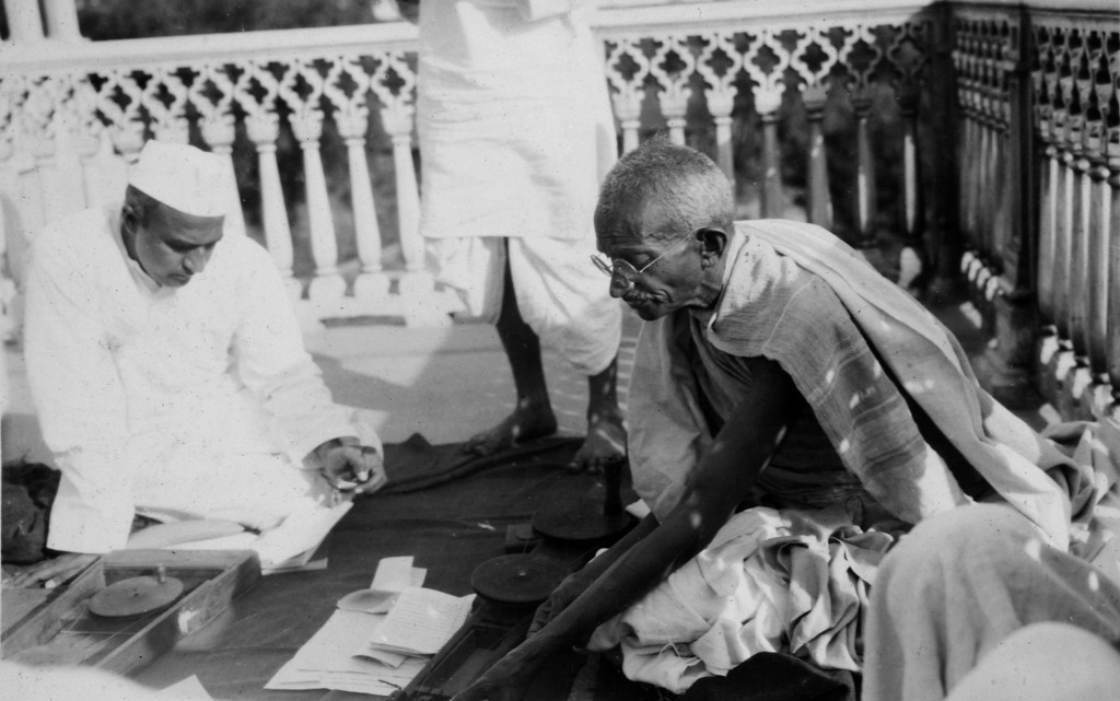 . Mahatma Gandhi at Swaraj Bhavan, Allahabad, in a photo from a period album collected by AP reporter James A. Mills, ca. 1931. (AP Photo/James A. Mills)