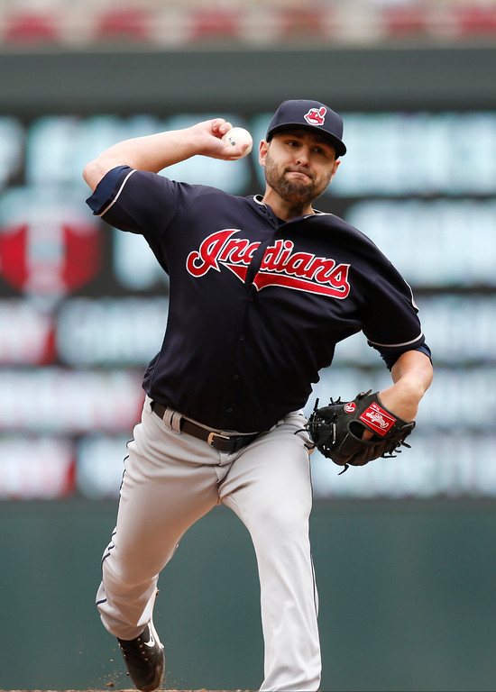 . Cleveland Indians relief pitcher Nick Goody throws against the Minnesota Twins in the the first game of a baseball doubleheader Thursday, Aug. 17, 2017, in Minneapolis. The Indians won 9-3. (AP Photo/Jim Mone)