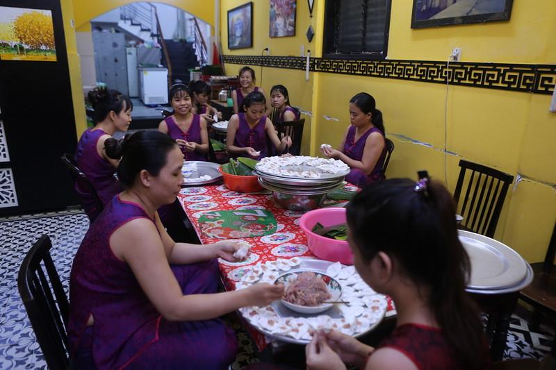 White Rose Dumplings assembly area..