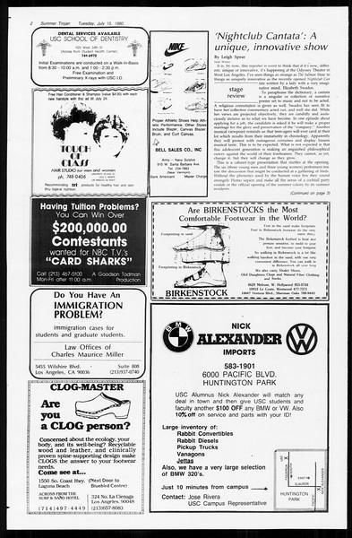 Summer Trojan, Vol. 89, No. 9, July 15, 1980