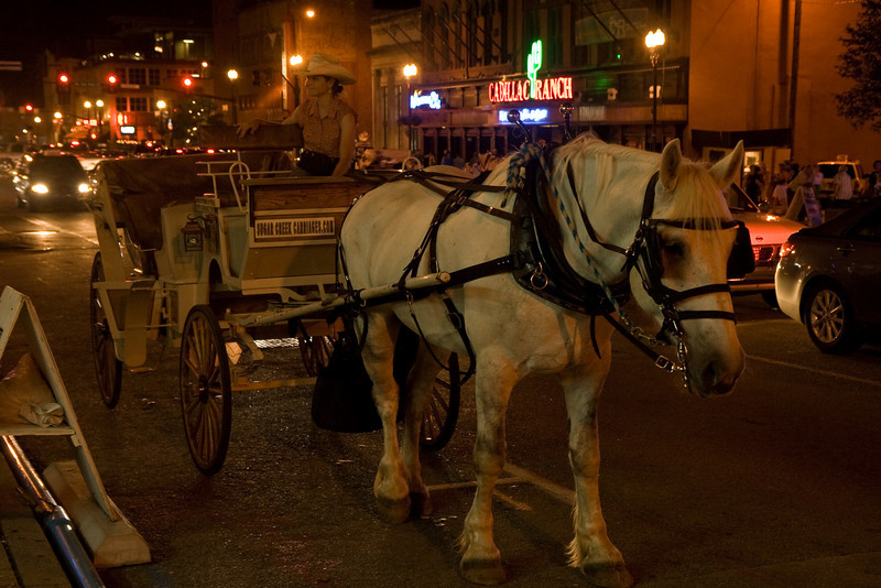 Horse and carriage on Broadway in Nashville at night