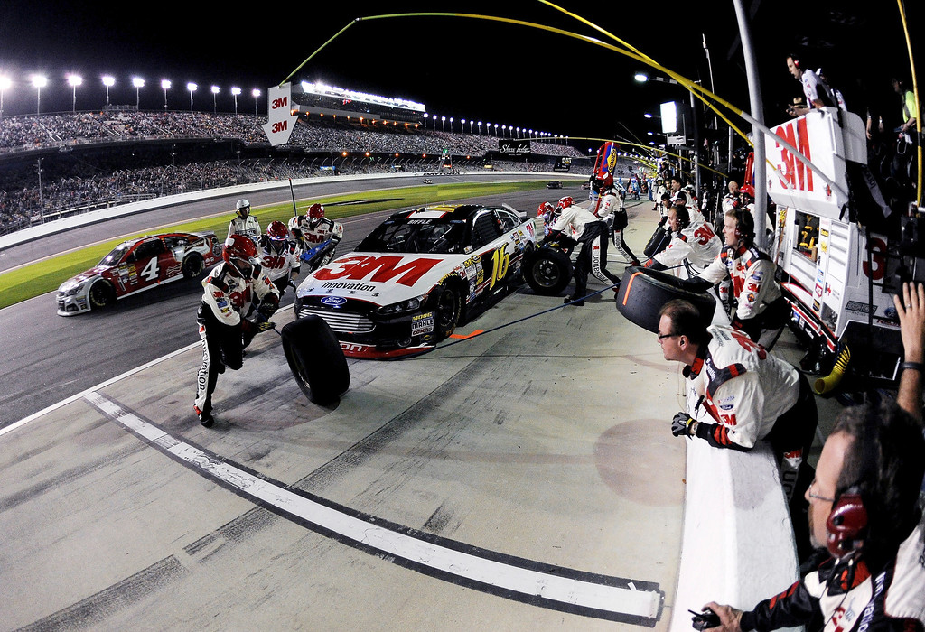 . Greg Biffle, driver of the #16 3M Ford, pits during the NASCAR Sprint Cup Series Budweiser Duel 1 at Daytona International Speedway on February 20, 2014 in Daytona Beach, Florida.  (Photo by Patrick Smith/Getty Images)