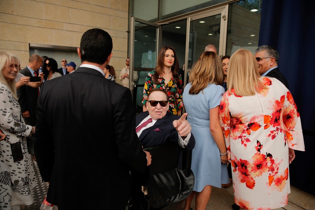. Sheldon Adelson attends the opening ceremony of the new U.S. embassy in Jerusalem, Monday, May 14, 2018. Amid deadly clashes along the Israeli-Palestinian border, President Donald Trump\'s top aides and supporters on Monday celebrated the opening of the new U.S. Embassy in Jerusalem as a campaign promised fulfilled. (AP Photo/Sebastian Scheiner)