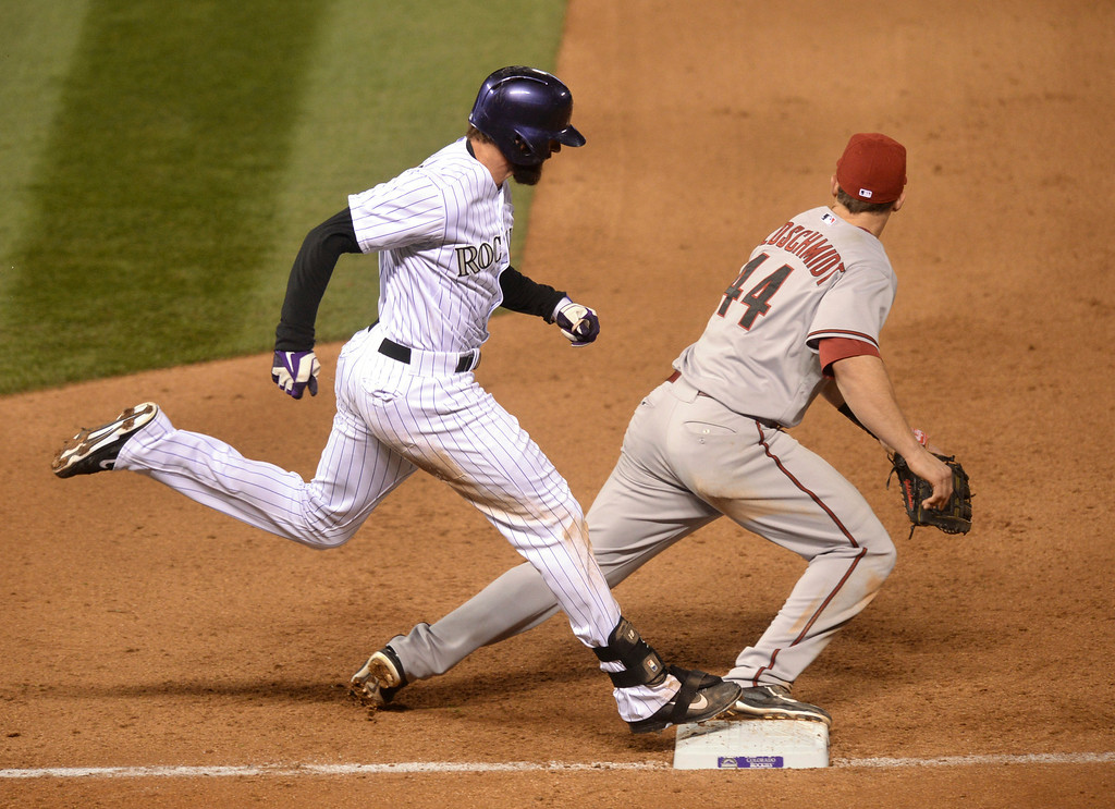 . DENVER, CO - APRIL 5:  Colorado batter Charlie Blackmon beat the throw to first base in the fifth inning. The Colorado Rockies hosted the Arizona Diamondbacks Saturday night, April 5, 2014 in Denver. (Photo by Karl Gehring/The Denver Post)