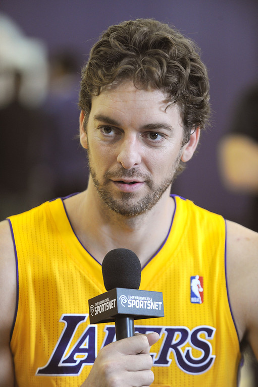 . Pau Gasol is interviewed.The Los Angeles Lakers held a media day at their El Segundo practice facility. Players were photographed for team materials, and interviewed by the press. El Segundo, CA. 9/27/2013. photo by (John McCoy/Los An8eles Daily News)