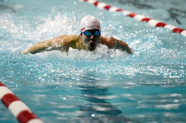 2/19/2019 Mike Orazzi | Staff Bristol Swim Team's Gabriel Bartolome during Tuesday's meet with Middletown in Bristol.