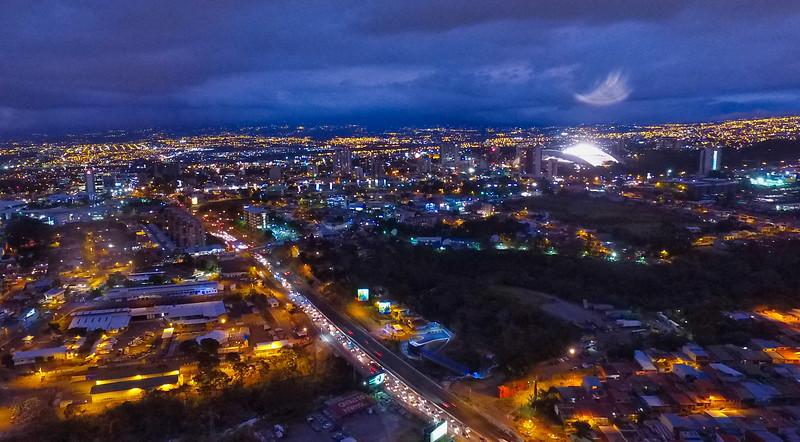 San Jose, Costa Rica Nightfall and sunset over the National Stadium (estadio nacional de costa Rica), and La Sabana