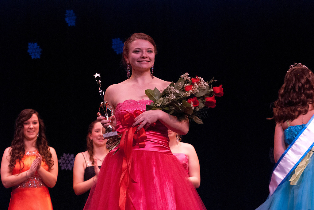 . Kayla Rice/Reformer 2nd runner up Marissa Semenovich smiles during the 2014 Winter Carnival Queen\'s Pageant on Friday evening.