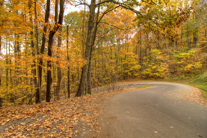 One of the many hairpin turns along High Knob Road (State Route 619) in Norton, VA on Saturday, October 25, 2014. Copyright 2014 Jason Barnette