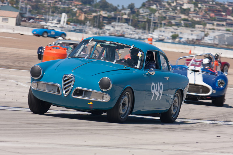 Tom Farrington and his 1959 Alfa Romeo Giulietta Sprint.  © 2014 Victor Varela