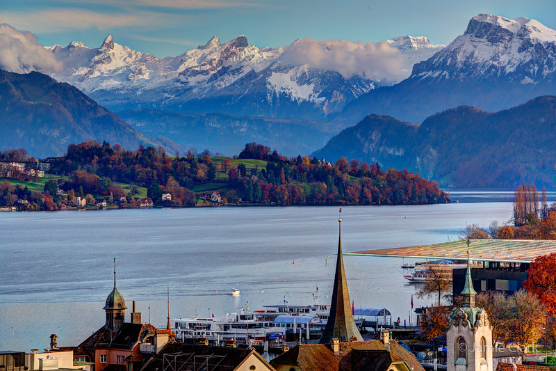 An evening by the Alps. Lucerne, Switzerland