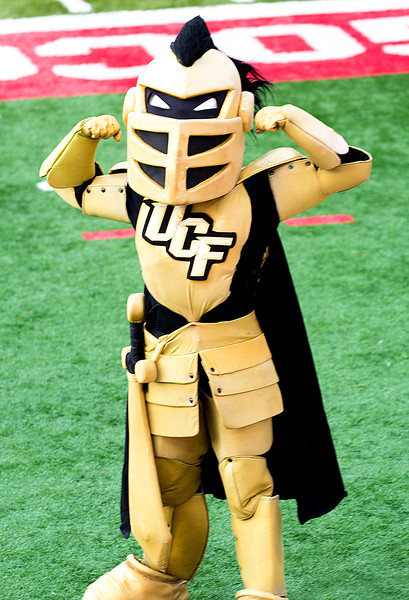 The UCF Mascot, Knightro, is waiting for us.  He thinks he owns the stadium