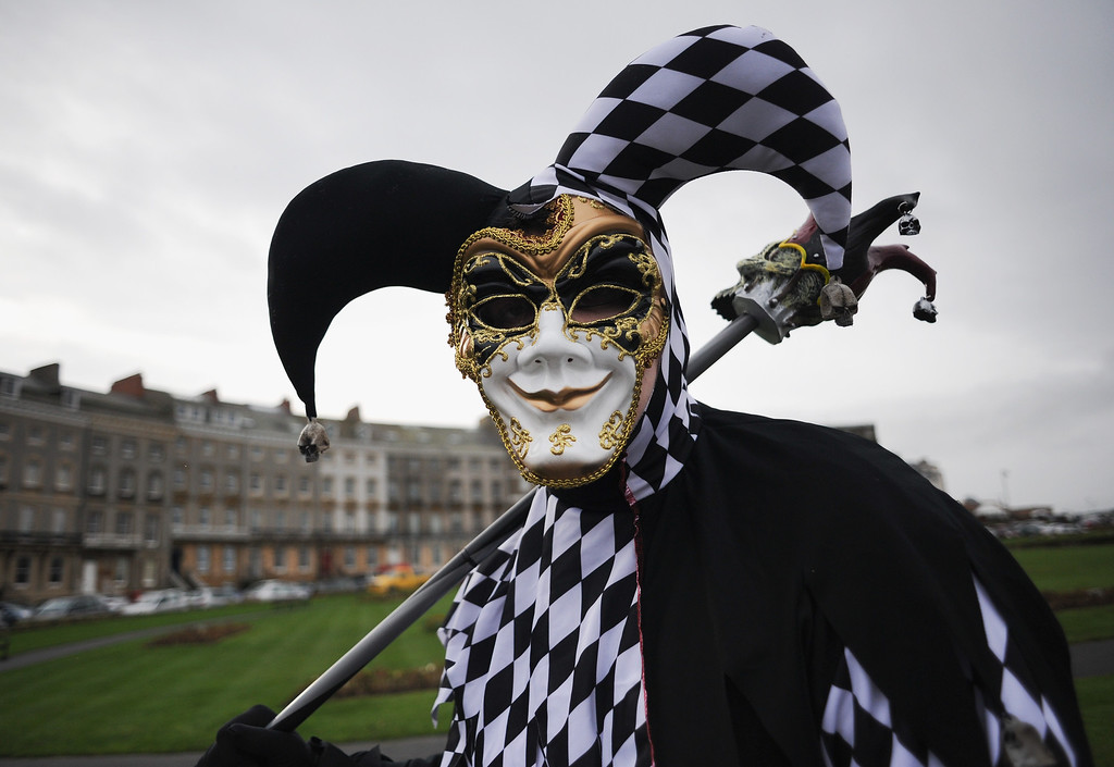 . WHITBY, ENGLAND - NOVEMBER 02: Gabriel Simpson from York dresses as a \'JesterIye\' as he takes part in the Goth weekend on November 2, 2013 in Whitby, England. The Whitby Gothic Weekend that takes place in the Yorkshire seaside town twice yearly in Spring and Autumn started in 1994 and sees thousands of extravagantly dressed followers of Victoriana, Steampunk, Cybergoth and Romanticism visit to take part in celebrating Gothic culture.  (Photo by Ian Forsyth/Getty Images)