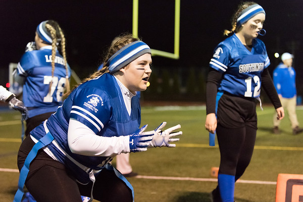 11/19/18 Wesley Bunnell | Staff Southington powder puff football vs Rocky Hill on Monday night at Southington High School. Tessa Schneider (16).