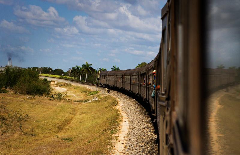 The train rounds a bend a few miles outside of Santiago de Cuba during the ride from Havana to Santiago de Cuba.