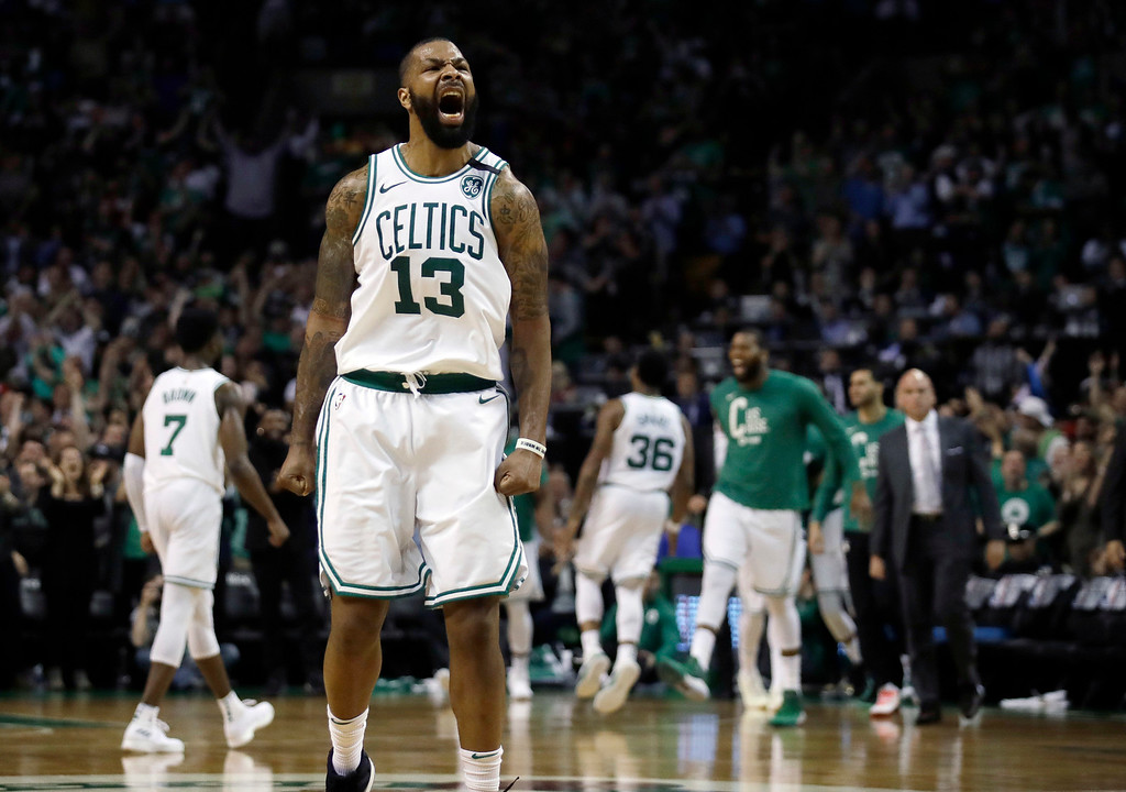 . Boston Celtics forward Marcus Morris reacts to a basket during the second half in Game 2 of the team\'s NBA basketball Eastern Conference finals against the Cleveland Cavaliers, Tuesday, May 15, 2018, in Boston. (AP Photo/Charles Krupa)