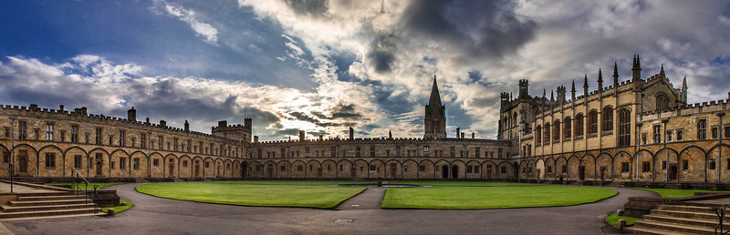 Panoramic view of sunset at Christ Church, Oxford,England
