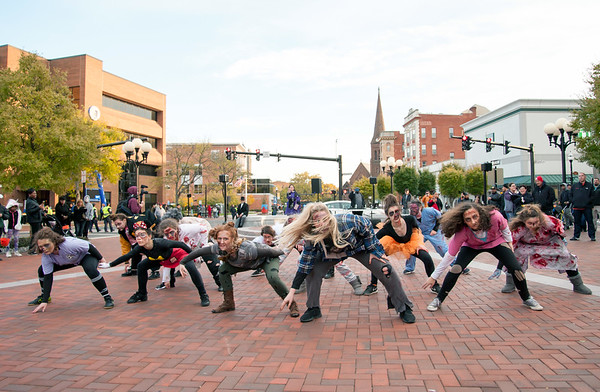 10/31/18 Wesley Bunnell   Staff Dancers from the YWCA Dance Team perform to Michael Jackson's Thriller on Wednesday night at Central Park during New Britain's Halloween Safe Zone event.