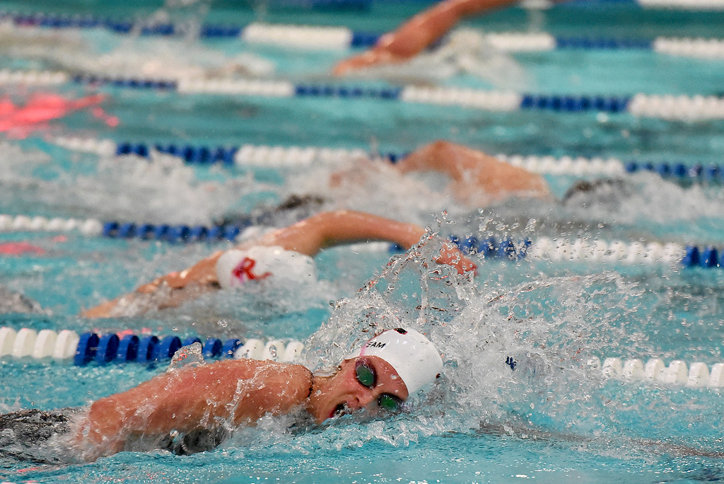 . Fairview\'s Brittney Beetcher swims to a win in the 200 Yard Freestyle event at the girls 5A State Swim meet held at Edora Pool and Ice Center on Saturday. (Photo by Kira Horvath/ The Denver Post)