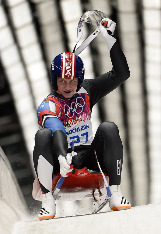 . US Aidan Kelly competes during the Men\'s Luge Singles Run at the Sliding Center Sanki during the Sochi Winter Olympics on February 9, 2014.             LIONEL BONAVENTURE/AFP/Getty Images