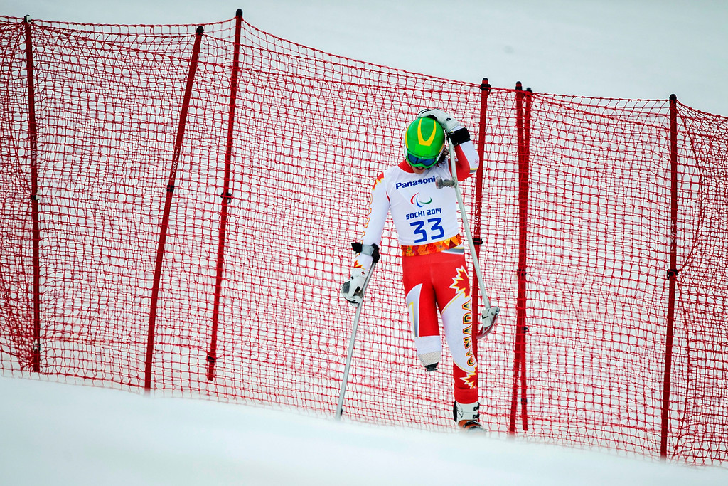 . Canadian Braydon Luscombe during in the men\'s super-G standing race at the Winter Paralympics 2014 Sochi in Krasnaya Polyana, Russia,.  EPA/ENNIO LEANZA