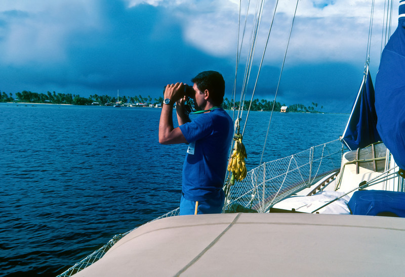 Ron looking for a good place to anchor.