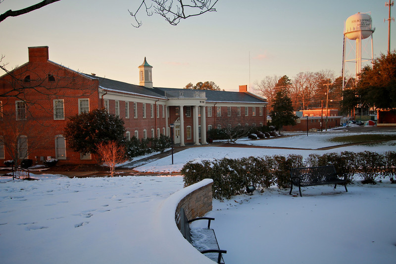Webb Hall after an early January snowfall in 2011.