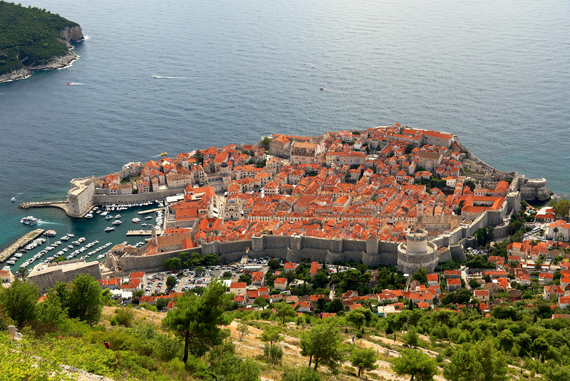 Dubrovnik is completely surrounded with defensive walls and forts, running 6.365 feet