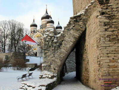The old city walls, with the Nevsky Cathedral in the background