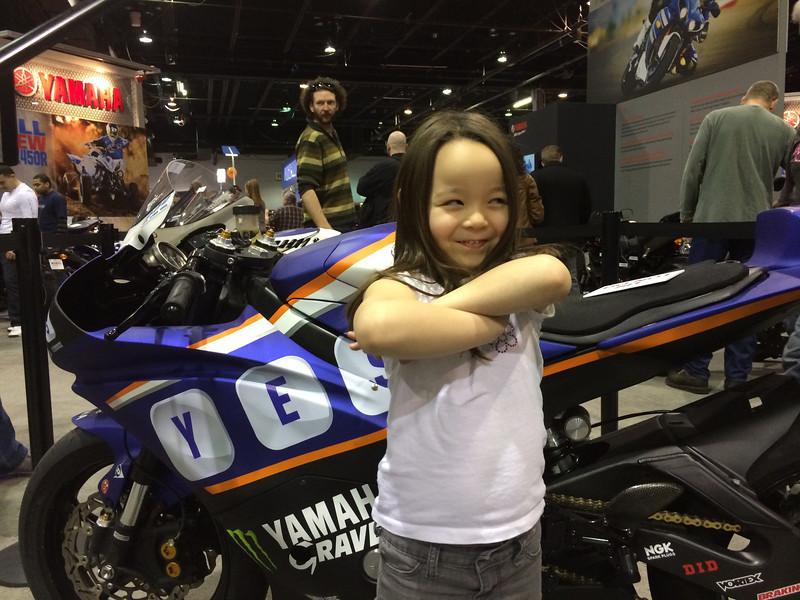 Keira with Josh Herrin Championship winning bike. The Yamaha guys wouldn't let her sit on it.. It's almost as if they didn't know what a star she is