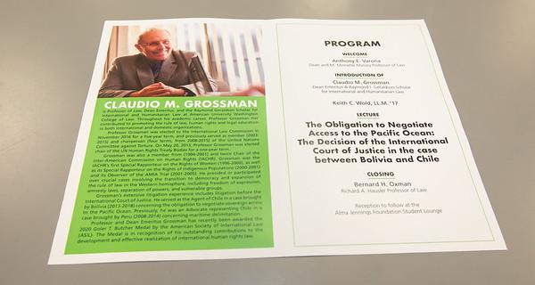 Distinguished Lecture featuring Professior Claudio M. Grossman - February 24, 2020