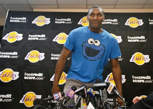 . Los Angeles Lakers forward Metta World Peace talks to the media at their practice center in El Segundo, Calif., Monday, April 29, 2013. The Lakes lost in the first round of the playoffs to the San Antonio Spurs. (AP Photo/Chris Carlson)
