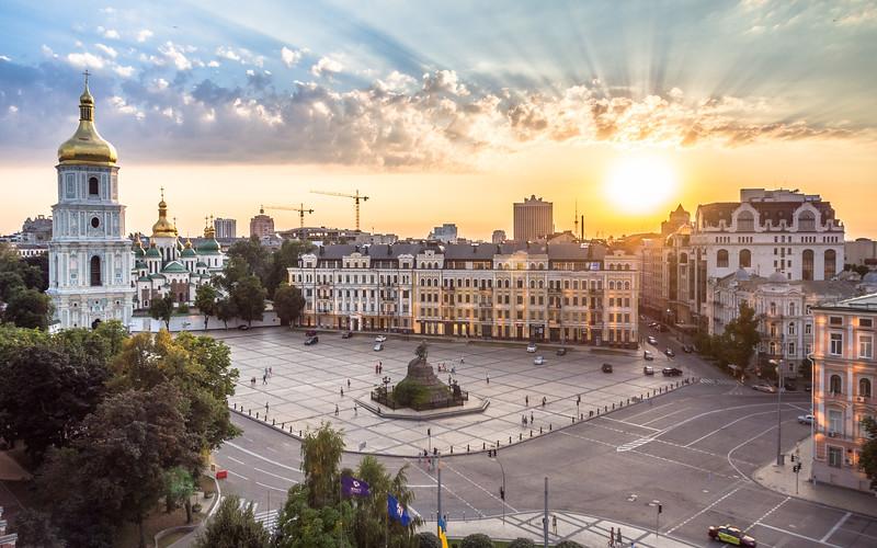 Sunset on St Sophia's Square, Kiev, Ukraine