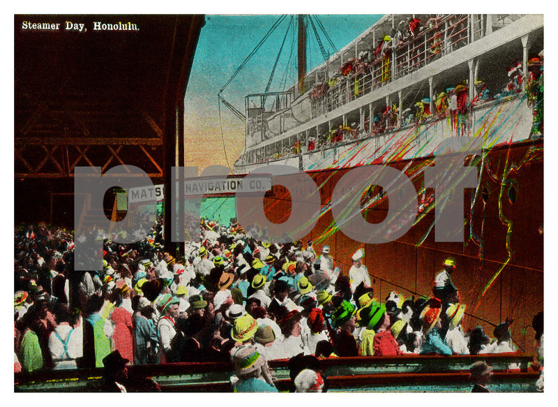 429: 'Steamer Day, Honolulu' Postcard image, ca. 1932. (PROOF watermark will not appear on your print)