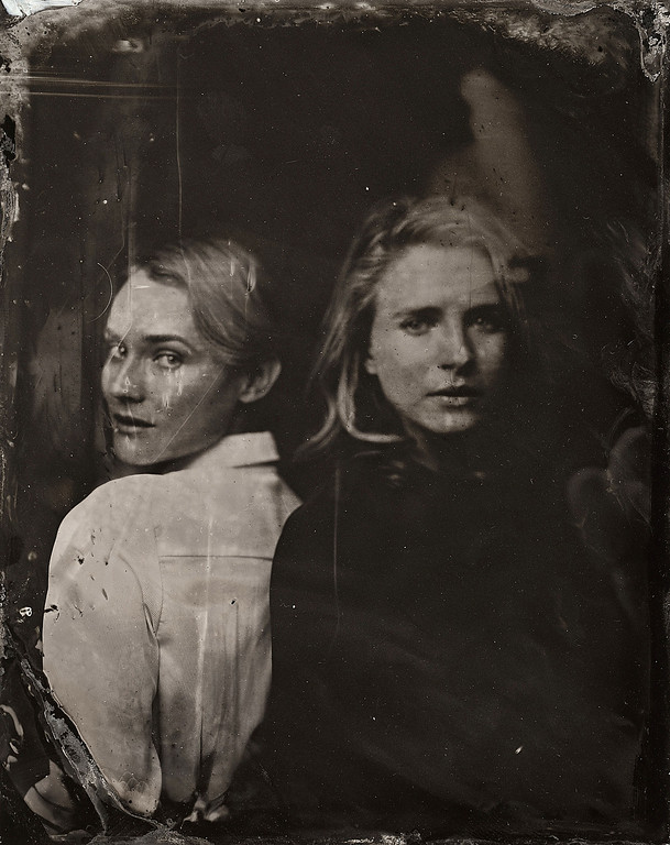 . Diane Kruger and Britt Marling pose for a tintype (wet collodion) portrait at The Collective and Gibson Lounge Powered by CEG, during the 2014 Sundance Film Festival in Park City, Utah. (Photo by Victoria Will/Invision/AP)