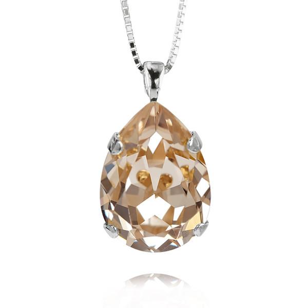 Classic Drop Necklace / Silk / Rhodium