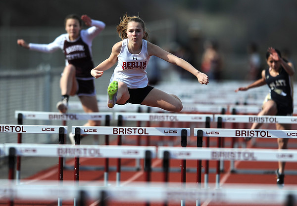 4/16/2019 Mike Orazzi | Staff Berlin's Sophia Dombrowski during Tuesday's track meet at Bristol Central High School.
