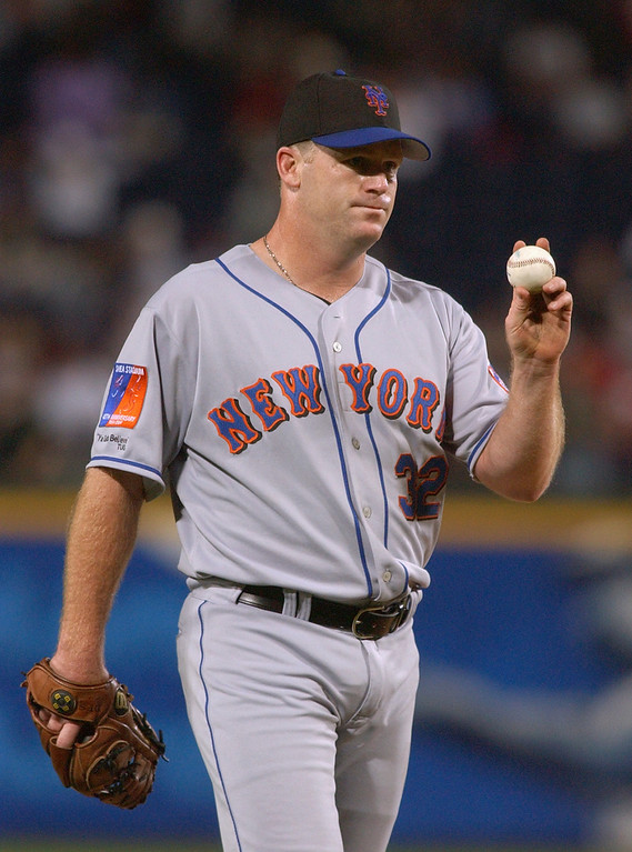. MIKE STANTON -- Pitcher Mike Stanton #32 of the New York Mets shows the umpire the ball during the game against the Atlanta Braves at Turner Field on April 7, 2004 in Atlanta, Georgia.  (Photo by Erik S. Lesser/Getty Images)