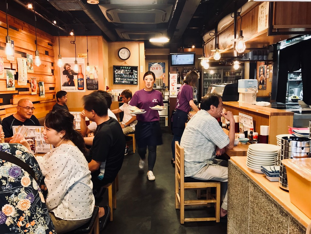 Lively lunchtime at Kanoya on a weekday.