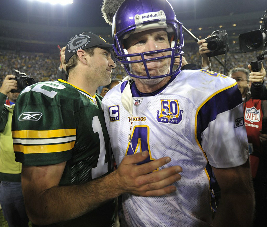 ". 1. BRETT FAVRE <p>Insists he�s not concerned about Lambeau Field booing, which is why he�s waiting ANOTHER year to have his number retired there. (unranked) </p><p><b><a href=""http://www.twincities.com/sports/ci_26271014/packers-retire-no-4-put-brett-favre-team\"" target=\""_blank\""> LINK </a></b> </p><p>    (Jim Prisching/Getty Images)</p>"