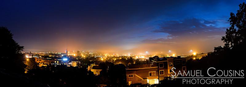 Foggy evening, overlooking Portland.