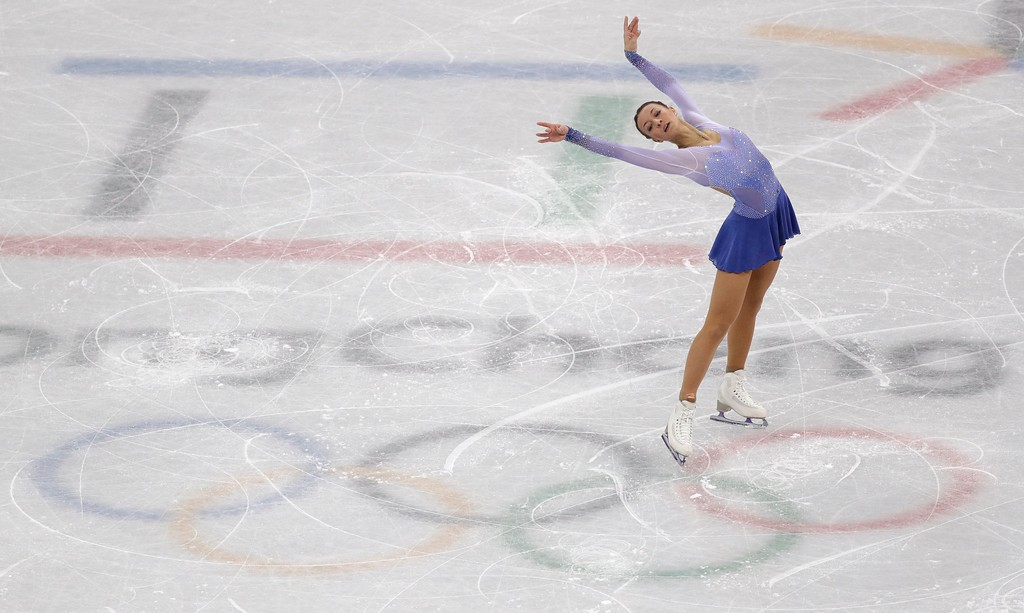 . Nicole Schott, of Germany performs in the ladies single figure skating short program in the Gangneung Ice Arena at the 2018 Winter Olympics in Gangneung, South Korea, Sunday, Feb. 11, 2018. (AP Photo/David J. Phillip)