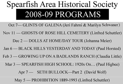 "Unless otherwise advertised, regular meeting of the Spearfish Area Historical Society (SAHS) are held at 7:30 p.m. on the first Tuesday of the month, September through May at the Spearfish Senior Citizens Center.  It is located at 1306 Tenth Street.  Persons desiring more information may contact Laurie Williams-Hayes at 642-9620 in Spearfish.  We try to post a few photographs from each monthly meeting, along with a bit of information.  You can scroll down to see photos from the most recent presentation. Photographs from earlier society meetings can be found by clicking on other ""Gallery Pages"" listed at the top and bottom of each page."