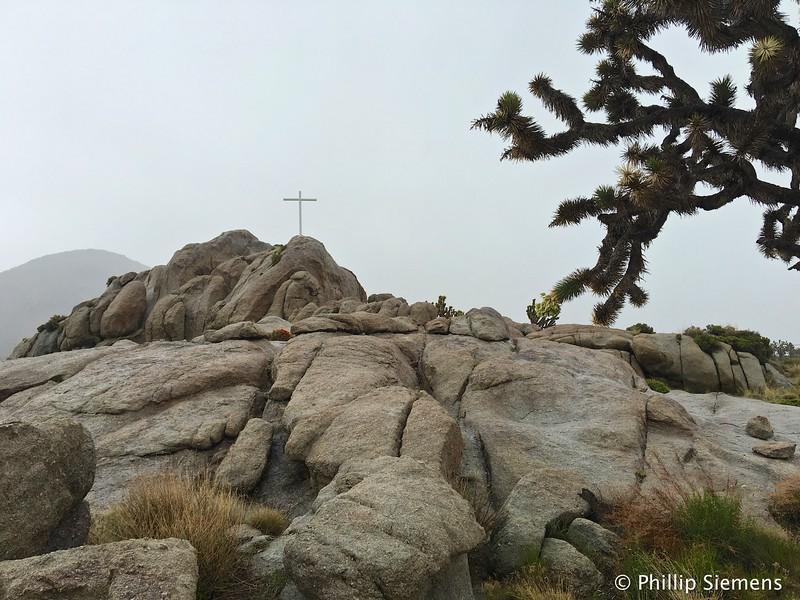 Mojave Cross in a heavy rain shower