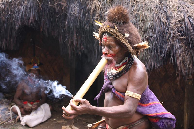 Napa village bigman smoking local tobacco