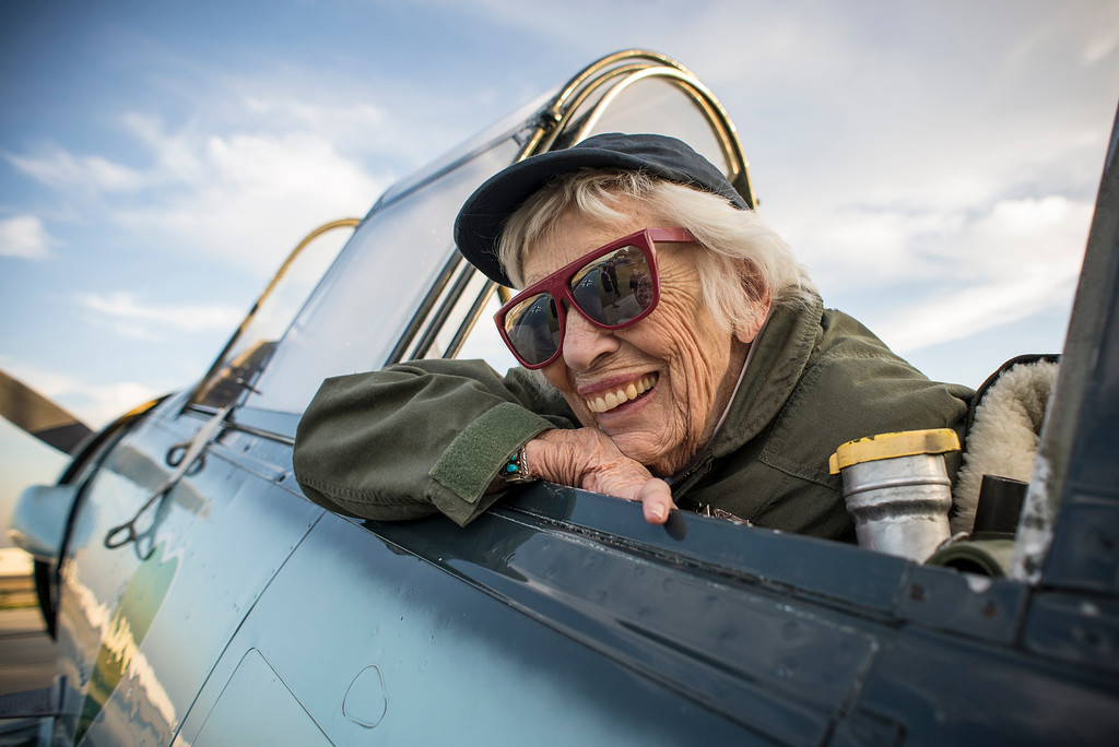 . Jean McCreedy, 90, of Oklahoma, a former WASP, is all smiles after her flight on a vintage AT-6 airplane at Van Nuys airport Tuesday, December 30, 2013.  The Condor Squadron at the Van Nuys airport hosted the former WASP pilots who are in town to represent WASPS on a tournament of Roses float.  (Photo by David Crane/Los Angeles Daily News)
