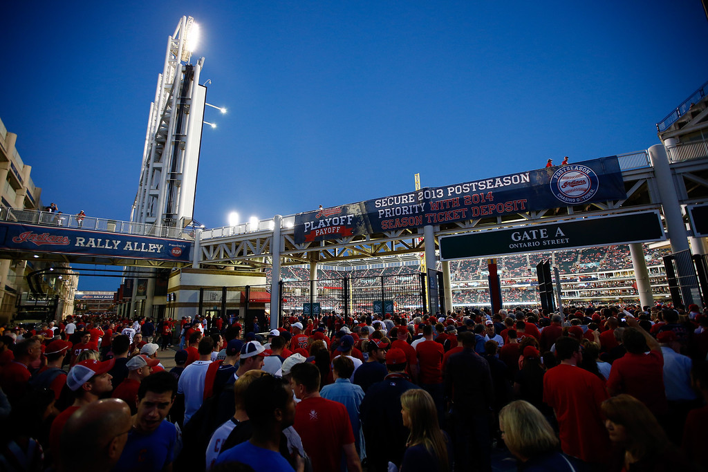 . CLEVELAND, OH - OCTOBER 02:  Fans gather outside of Gate A prior to the American League Wild Card game between the Tampa Bay Rays and the Cleveland Indians at Progressive Field on October 2, 2013 in Cleveland, Ohio.  (Photo by Jared Wickerham/Getty Images)